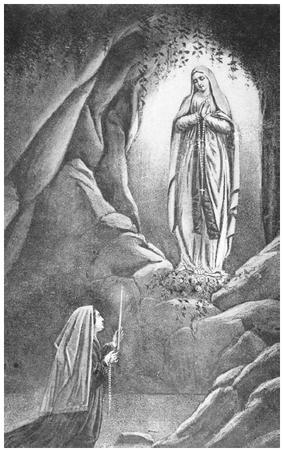 Virgin Mary appearing before Bernadette Soubirous (1844–1879) at Lourdes. (FORTEAN PICTURE LIBRARY)