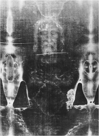 Close-up of the Shroud of Turin. It is still disputed whether this is the authentic shroud of Jesus Christ or a hoax created by people during the Crusades. (AP/WIDE WORLD PHOTOS)