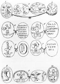 Illustrations of Gnostic gems from Mensa Isaica (1669) by Lorenzo Pignoria. FORTEAN PICTURE LIBRARY)
