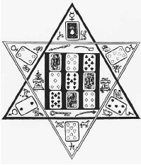 Cartomancy in hexagram used for predictions in the 1893 edition of The Mystic Test Book. (FORTEAN PICTURE LIBRARY)