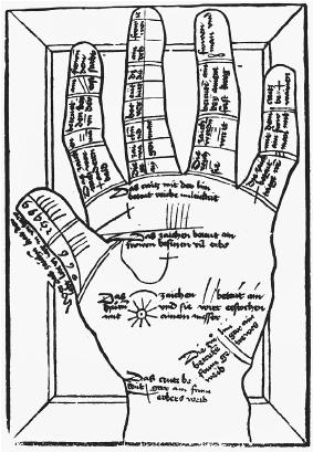 An illustration plate on palmistry from the German book Die Kunst Ciromantia (The Art of Chieromancy). (FORTEAN PICTURE LIBRARY)