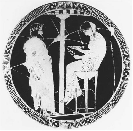 Painting depicting Aegeus of Athens consulting the Oracle of Delphi. (FORTEAN  PICTURE LIBRARY)