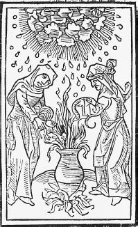 A woodcut of witches at a cauldron. (CORBIS CORPORATION)