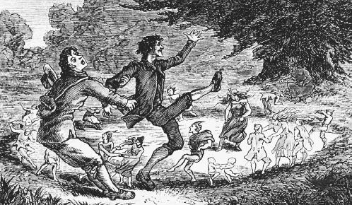 A T. H. Thomas drawing from the book British Goblin(1880) by Wirt Sikes of a man being pulled back before entering a fairy circle. (FORTEAN PICTURE LIBRARY)