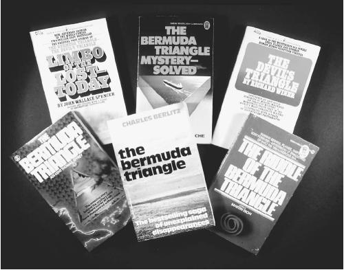 Selection of books on the Bermuda Triangle. (FORTEAN PICTURE LIBRARY)