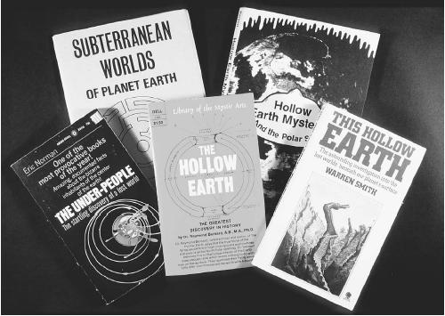 Books on the hollow earth concept. (FORTEAN PICTURE LIBRARY)