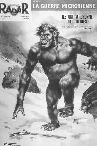 An alleged Yeti, or abominable snowman, on the 1952 issue of Radar magazine. (MARY EVANS PICTURE LIBRARY)