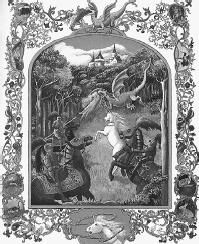 Lynne Cherry's illustration from  The Dragon and the Unicorn. (HARCOURT, INC.)
