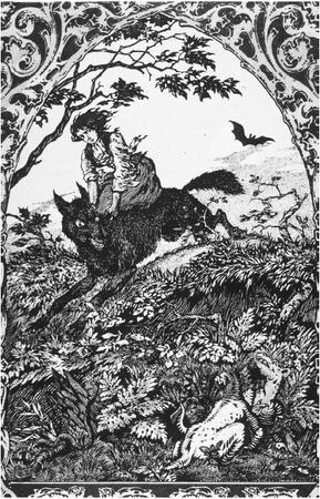 A witch riding a black dog from the 1926 bookLa Vie Execrable de Guillemette Babinby M.Carron. (FORTEAN  PICTURE LIBRARY)