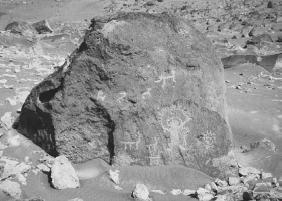 "Petroglyph allegedly identified as an ""astronaut."" (KLAUS AARSLEFF/FORTEAN  PICTURE LIBRARY)"