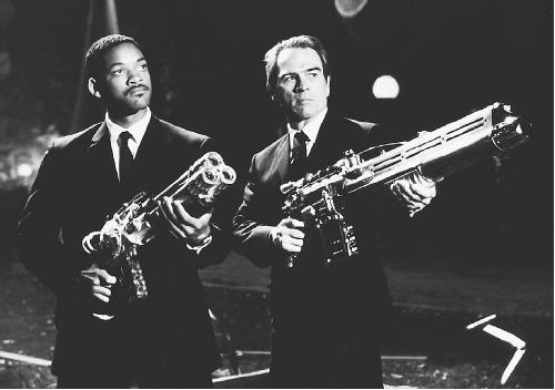 "Actors Will Smith and Tommy Lee Jones in the sci-fi movie ""Men in Black."" (THE KOBAL COLLECTION)"