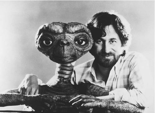 Steven Spielberg and ET.